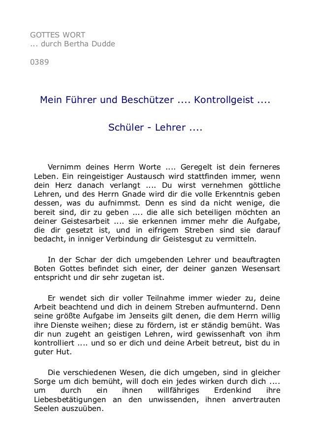 GOTTES WORT ... durch Bertha Dudde 0389 Mein Führer und Beschützer .... Kontrollgeist .... Schüler - Lehrer .... Vernimm d...