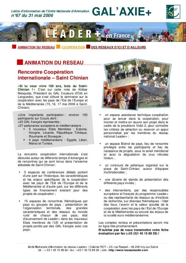 Unité Nationale d'Animation du réseau Leader+ | Cabinet RCT – 23, rue Raspail – 94 200 Ivry-sur-Seine tél. : + 33 1 45 15 ...