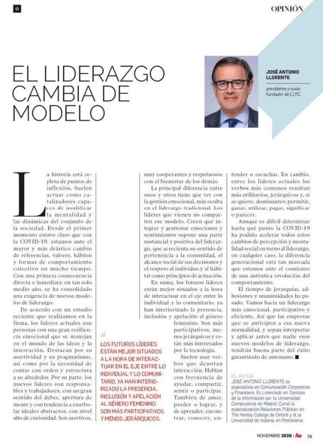 """José Antonio Llorente: """"El liderazgo cambia de modelo"""""""