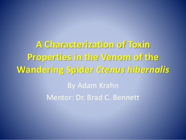 A Characterization of Toxin Properties in the Venom of the Wandering Spider Ctenus hibernalis By Adam Krahn Mentor: Dr. Br...