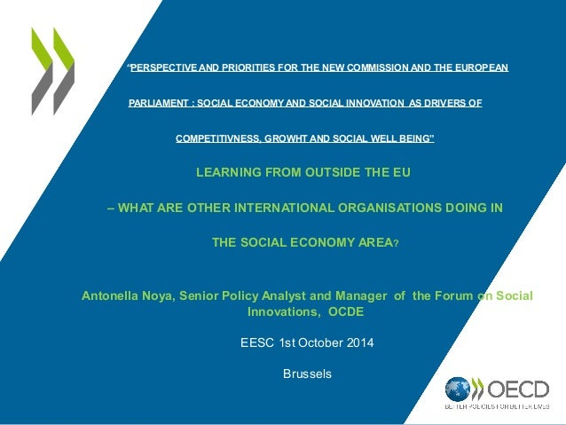 """""""PERSPECTIVE AND PRIORITIES FOR THE NEW COMMISSION AND THE EUROPEAN  PARLIAMENT : SOCIAL ECONOMY AND SOCIAL INNOVATION AS ..."""