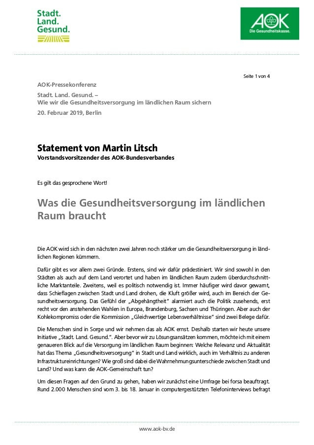 Statement von Martin Litsch Vorstandsvorsitzender des AOK-Bundesverbandes Es gilt das gesprochene Wort! Was die Gesundheit...