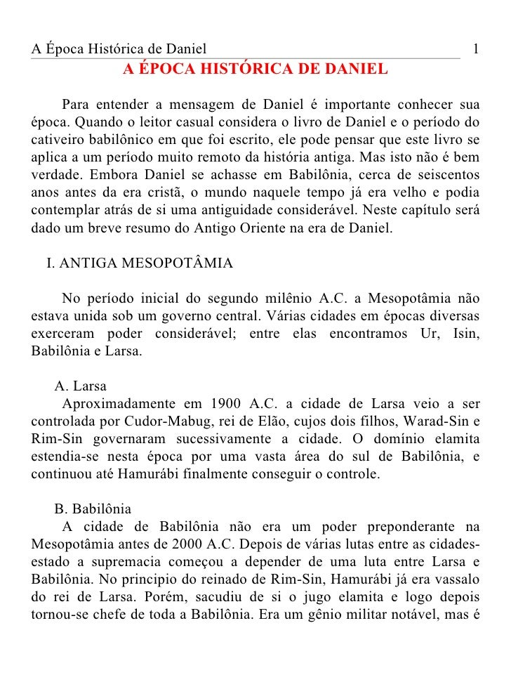 A Época Histórica de Daniel                                             1               A ÉPOCA HISTÓRICA DE DANIEL     Pa...