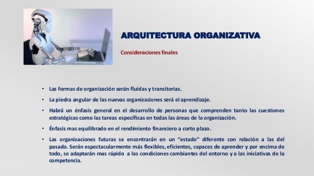 ARQUITECTURA ORGANIZATIVA  • Las formas de organización serán fluidas y transitorias.  • La piedra angular de las nuevas o...