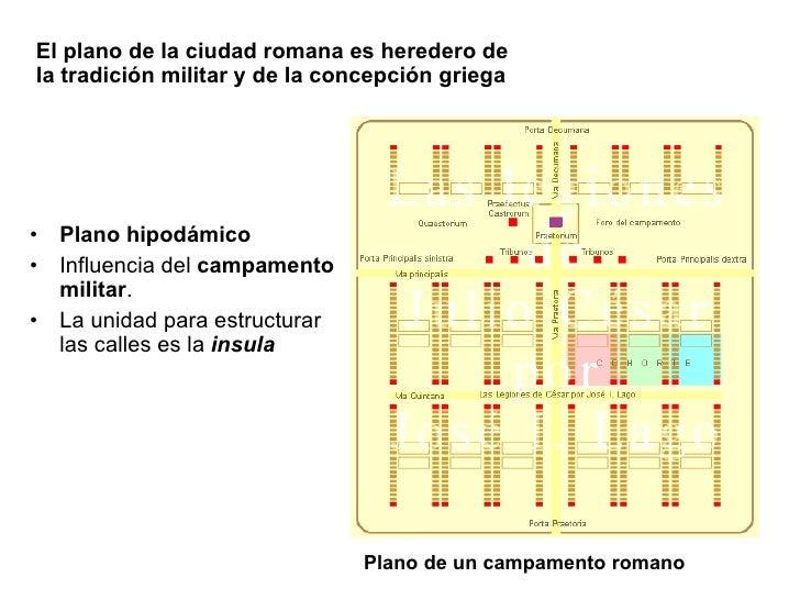 El plano de la ciudad romana es heredero de la tradición militar y de la concepción griega <ul><li>Plano hipodámico </li><...