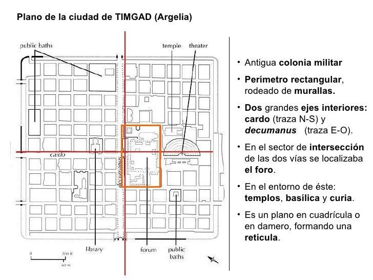 Plano de la ciudad de TIMGAD (Argelia) <ul><li>Antigua  colonia   militar </li></ul><ul><li>Perímetro rectangular , rodead...