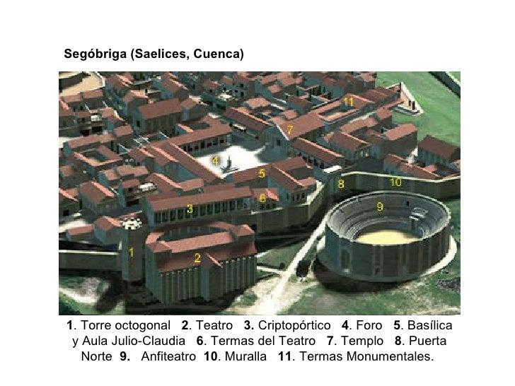 Segóbriga (Saelices, Cuenca) 1 . Torre octogonal  2 . Teatro  3.  Criptopórtico  4 . Foro  5 . Basílica y Aula Jul...