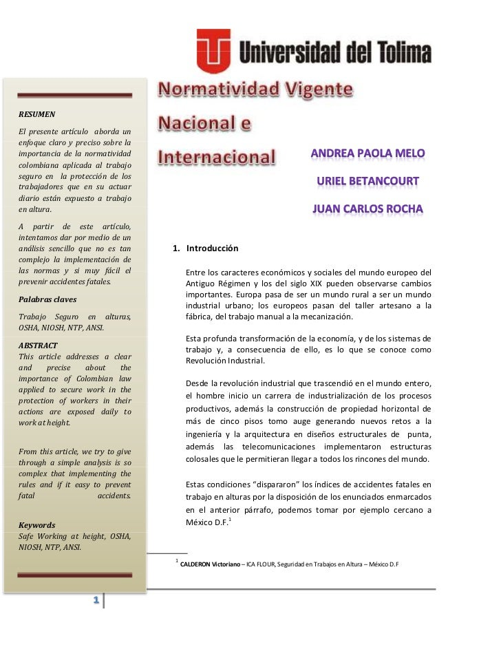 RESUMENEl presente artículo aborda unenfoque claro y preciso sobre laimportancia de la normatividadcolombiana aplicada al ...