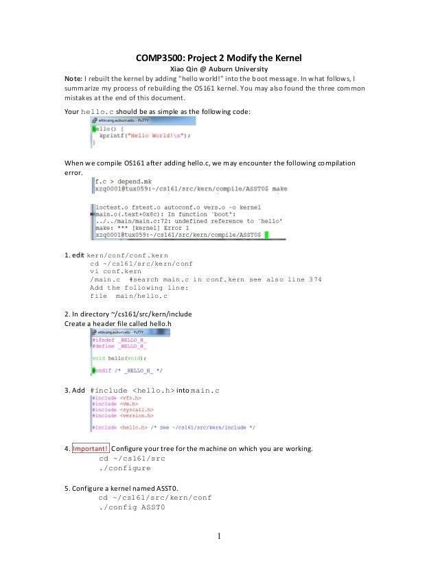 1   COMP3500:  Project  2  Modify  the  Kernel     Xiao  Qin  @  Auburn  University   Note:  I...