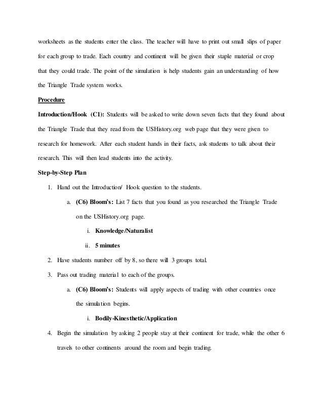 Final Lesson Plan 6 – Triangular Trade Worksheet