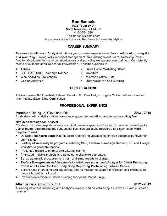 Data Analyst Resume Ron Banonis
