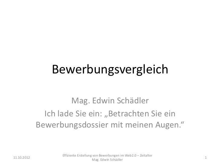 """Bewerbungsvergleich                       Mag. Edwin Schädler               Ich lade Sie ein: """"Betrachten Sie ein         ..."""