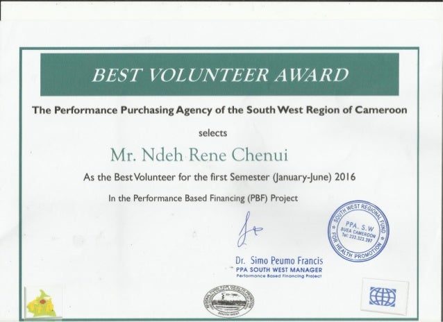 BEST VOLUNTEER CERTIFICATE