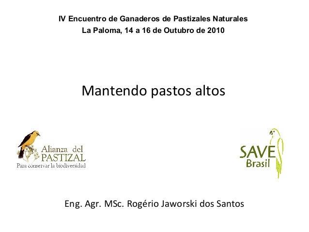 Mantendo pastos altos Eng. Agr. MSc. Rogério Jaworski dos Santos IV Encuentro de Ganaderos de Pastizales Naturales La Palo...