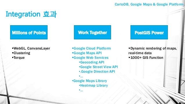 Integration 효과 Millions of Points Work Together PostGIS Power §Google Cloud Platform §Google Maps API §Google Web Se...