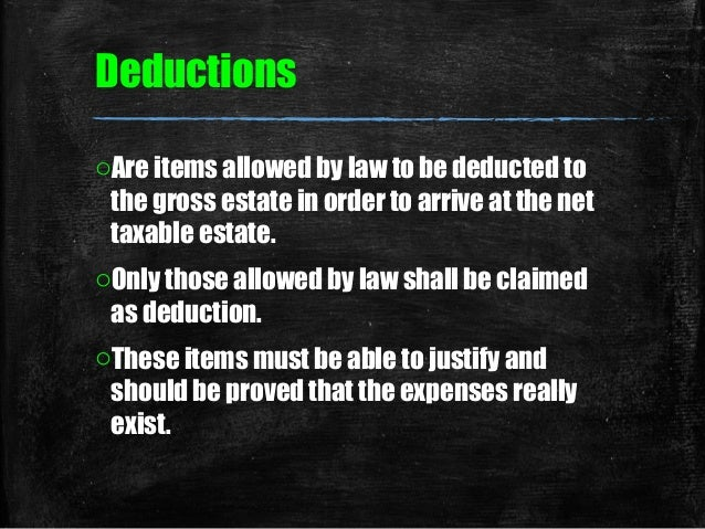 Deductive from gross estate