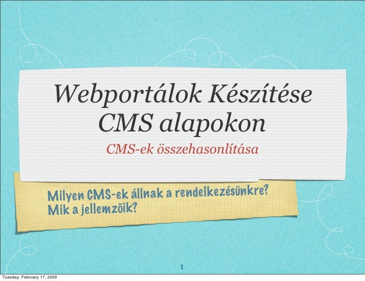 Webportálok Készítése                           CMS alapokon                                    CMS-ek összehasonlítása   ...