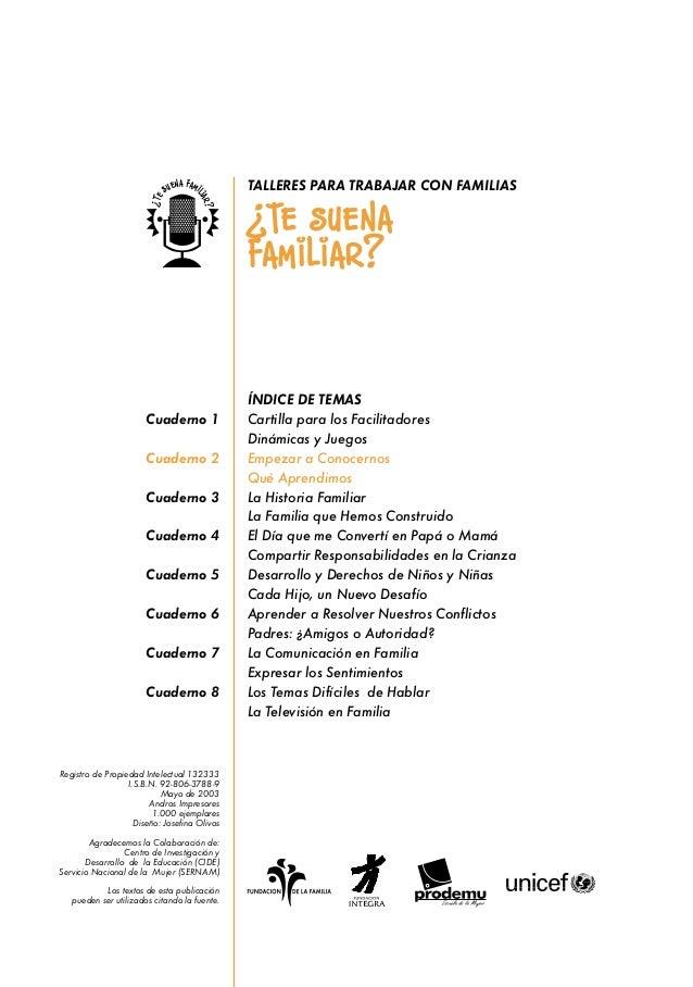ÍNDICE DE TEMAS Cartilla para los Facilitadores Dinámicas y Juegos Empezar a Conocernos Qué Aprendimos La Historia Familia...