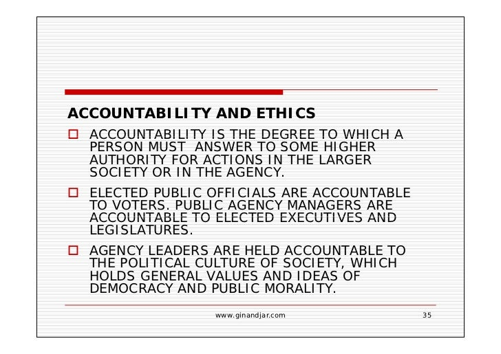 Public Accountability and Ethics Essay Sample