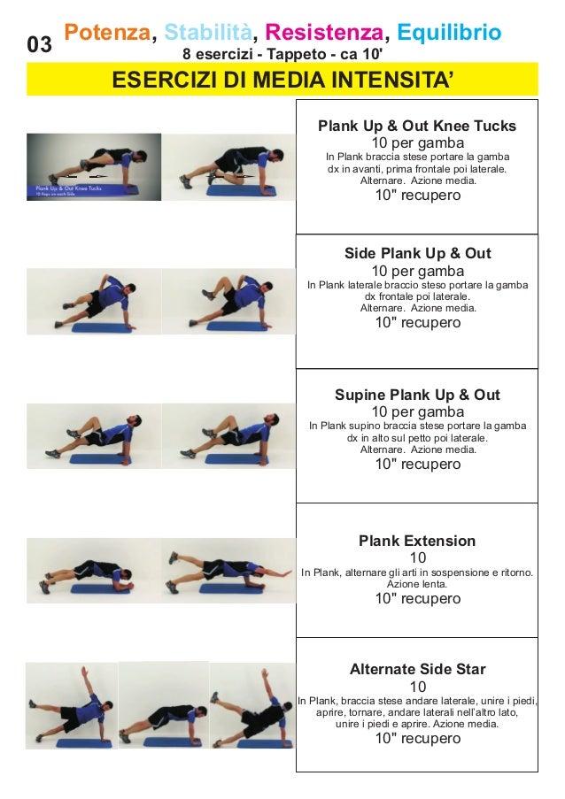 03  Potenza, Stabilità, Resistenza, Equilibrio 8 esercizi - Tappeto - ca 10'  ESERCIZI DI MEDIA INTENSITA' Plank Up & Out ...