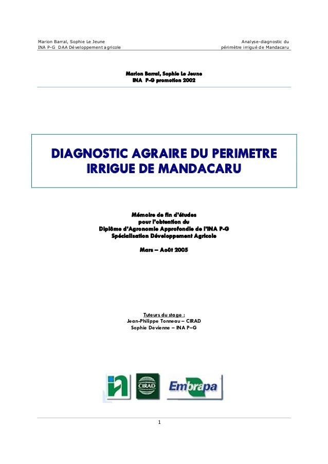 MarionBarral,SophieLeJeune Analysediagnosticdu INAPGDAADéveloppementagricole périmètreirriguédeMandacaru...