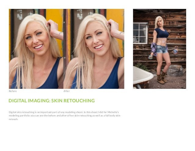 DIGITAL IMAGING: SKIN RETOUCHING Digital skin retouching is an important part of any modeling shoot. In this shoot I did f...