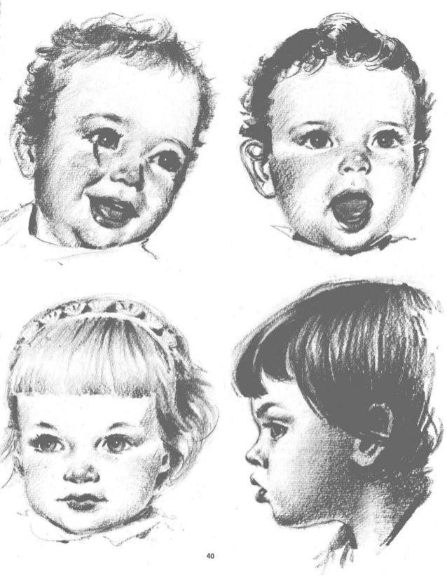 d) Nariz,  boca y orejas se hallan,  también,  situadas más arriba.  e) Sigue,  sin embargo,  la forma curvada de la mandí...