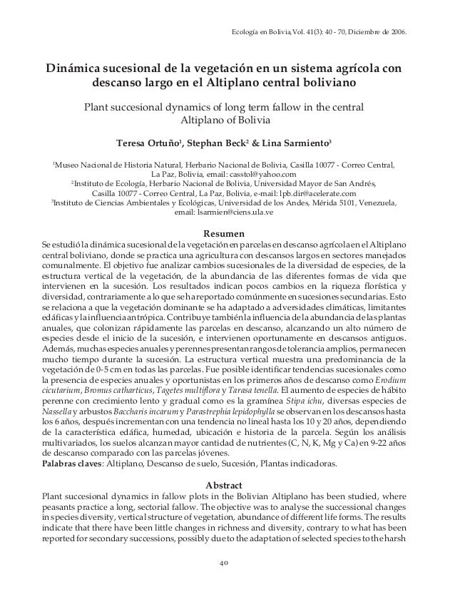 Ecología en Bolivia,Vol. 41(3): 40 - 70, Diciembre de 2006.                                      T. Ortuño, S. Beck & L. S...