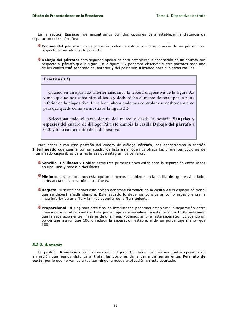 Diseño de Presentaciones en la Enseñanza                              Tema 3. Diapositivas de texto        En la sección E...