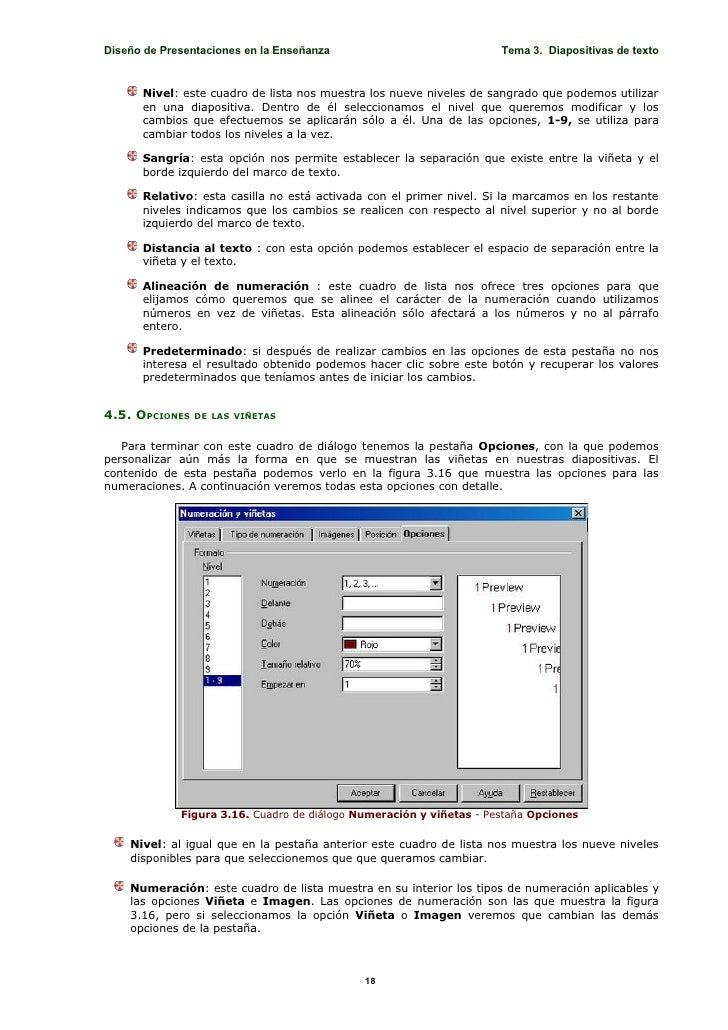 Diseño de Presentaciones en la Enseñanza                             Tema 3. Diapositivas de texto         Nivel: este cua...