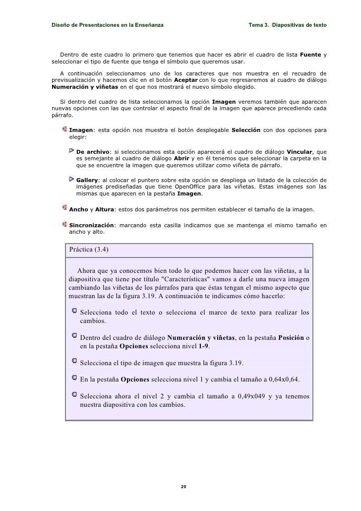 Diseño de Presentaciones en la Enseñanza                              Tema 3. Diapositivas de texto        Dentro de este ...