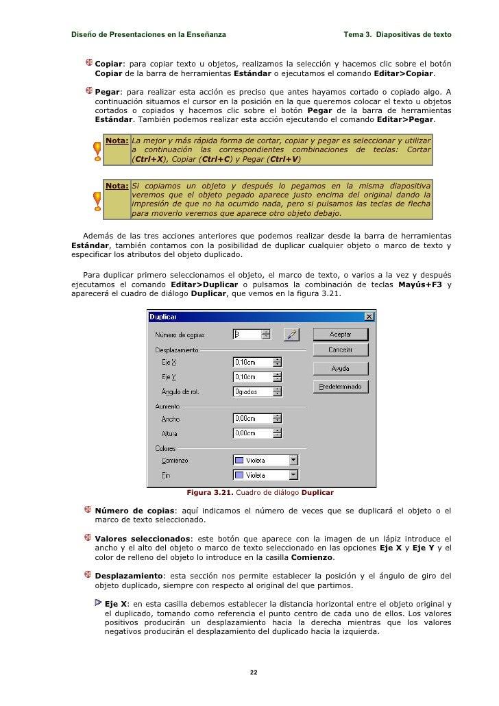 Diseño de Presentaciones en la Enseñanza                               Tema 3. Diapositivas de texto         Copiar: para ...