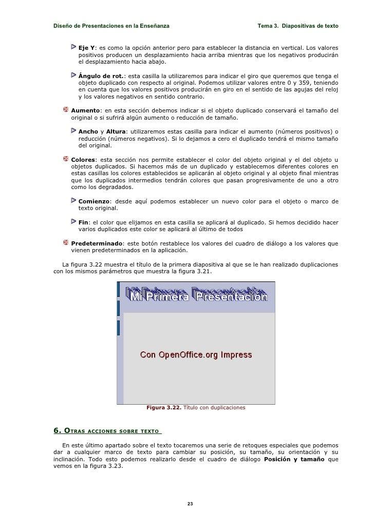 Diseño de Presentaciones en la Enseñanza                                  Tema 3. Diapositivas de texto           Eje Y: e...
