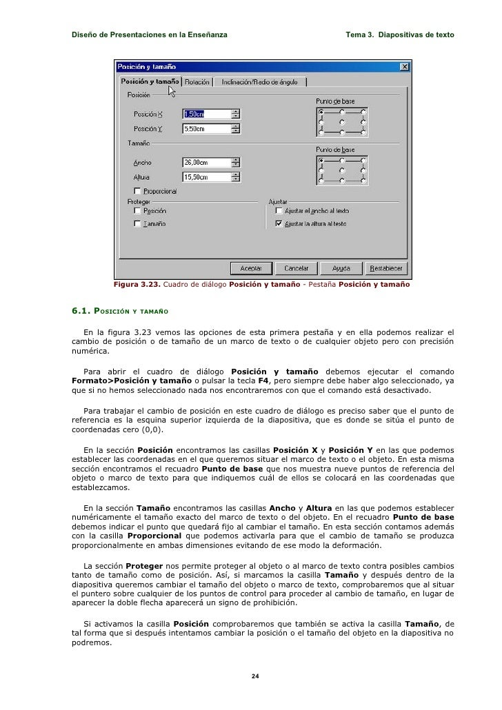 Diseño de Presentaciones en la Enseñanza                              Tema 3. Diapositivas de texto               Figura 3...