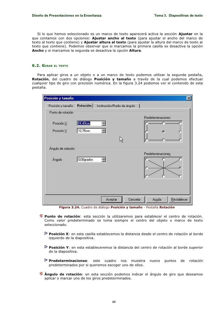 Diseño de Presentaciones en la Enseñanza                               Tema 3. Diapositivas de texto        Si lo que hemo...
