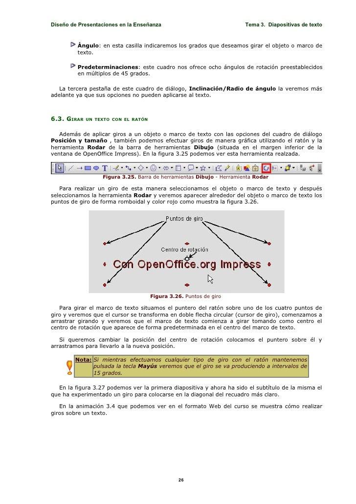 Diseño de Presentaciones en la Enseñanza                               Tema 3. Diapositivas de texto            Ángulo: en...