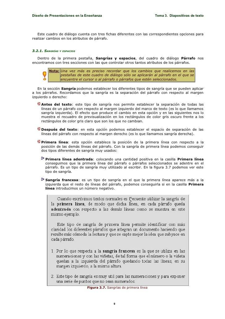 Diseño de Presentaciones en la Enseñanza                               Tema 3. Diapositivas de texto        Este cuadro de...