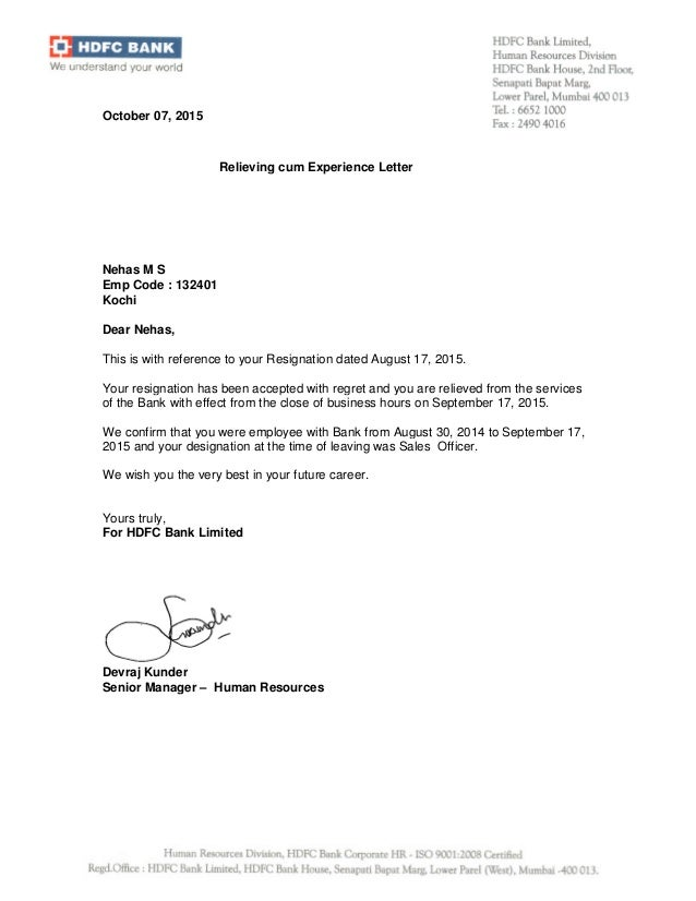 Bank experience devraj kunder senior manager human resources october 07 2015 relieving cum experience letter nehas yadclub Choice Image