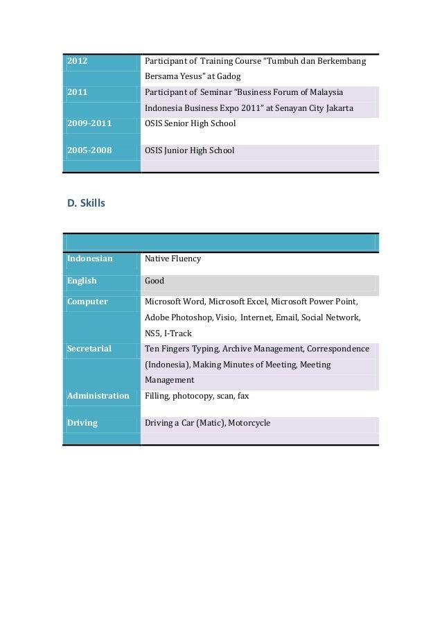 CV of Lucia Safira Miranti (Secretary- STIKS Tarakanita)