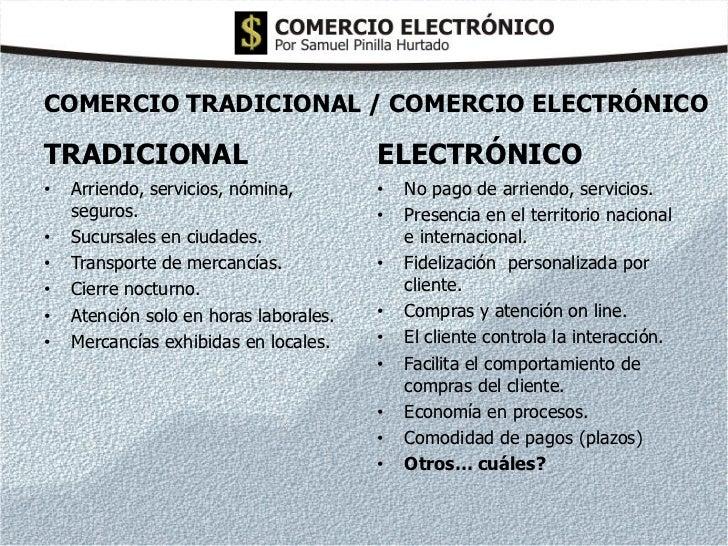 COMERCIO TRADICIONAL / COMERCIO ELECTRÓNICOTRADICIONAL                             ELECTRÓNICO•   Arriendo, servicios, nóm...