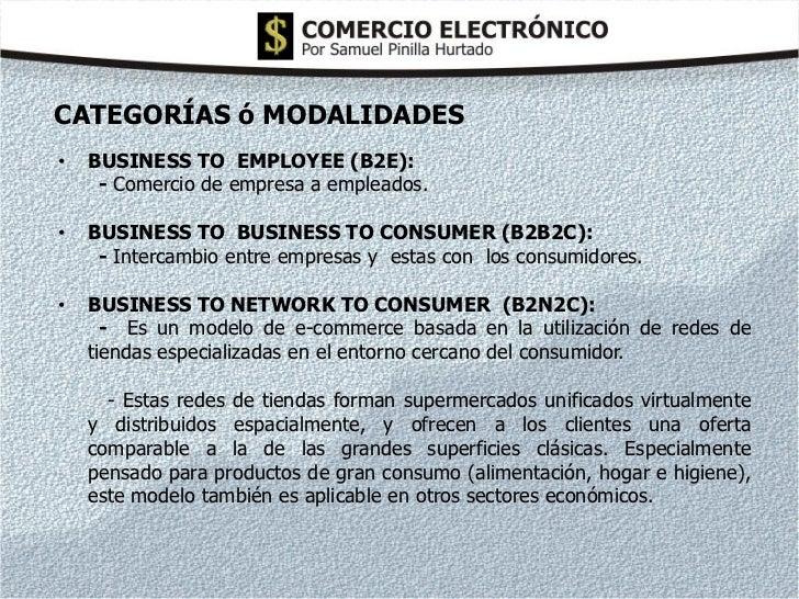 CATEGORÍAS ó MODALIDADES•   BUSINESS TO EMPLOYEE (B2E):     - Comercio de empresa a empleados.•   BUSINESS TO BUSINESS TO ...