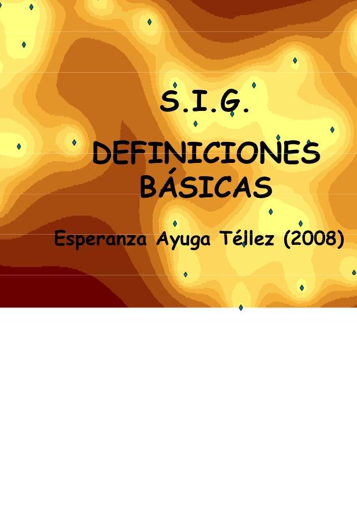 S.I.G.   DEFINICIONES      BÁSICASEsperanza AE p       Ayuga Téll                Téllez (2008)