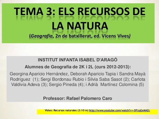 TEMA 3: ELS RECURSOS DELA NATURA(Geografia, 2n de batxillerat, ed. Vicens Vives)INSTITUT INFANTA ISABEL D'ARAGÓAlumnes de ...