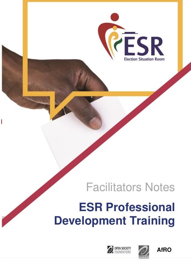 Facilitators Notes AfRO ESR Professional Development Training