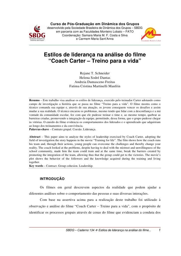 Curso de Pós-Graduação em Dinâmica dos Grupos              desenvolvido pela Sociedade Brasileira de Dinâmica dos Grupos –...
