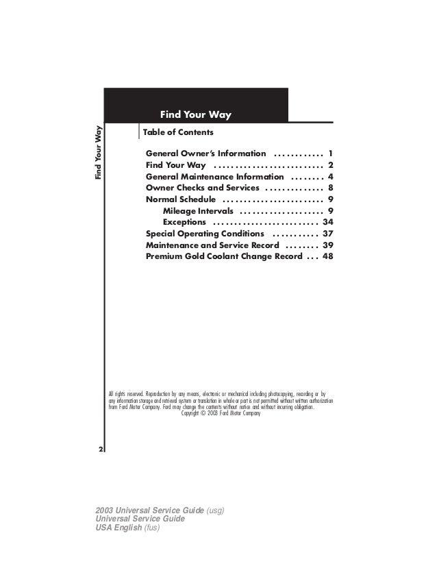 2003 ford explorer maintenance guide rh slideshare net Ford Motor Owner Ford Recommended Maintenance Schedule