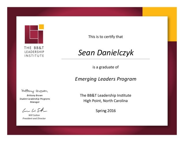 BB&T Emerging Leaders Certificate
