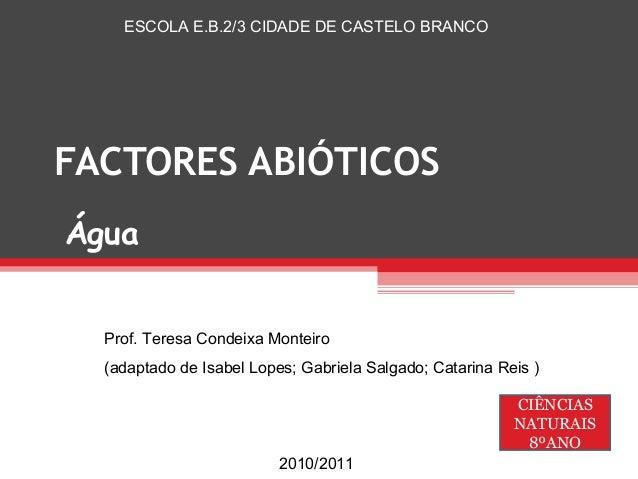 ESCOLA E.B.2/3 CIDADE DE CASTELO BRANCOFACTORES ABIÓTICOSÁgua  Prof. Teresa Condeixa Monteiro  (adaptado de Isabel Lopes; ...