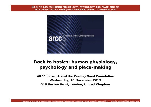 BACK TO BASICS: HUMAN PHYSIOLOGY, PSYCHOLOGY AND PLACE-MAKING ARCC network and the Feeling Good Foundation. London, 18 Nov...