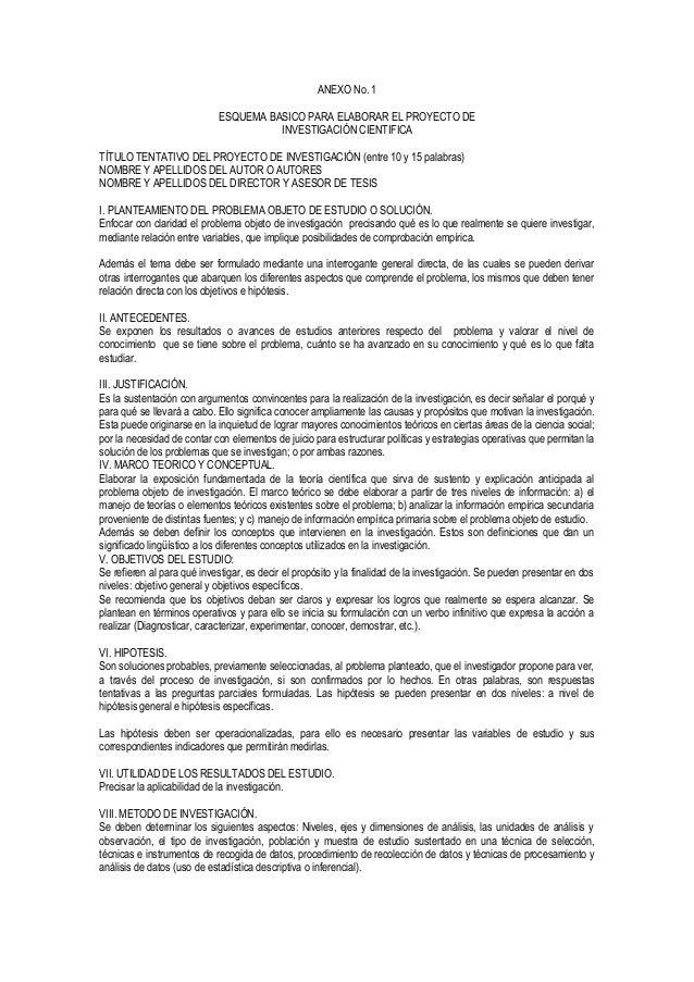 ANEXO No. 1 ESQUEMA BASICO PARA ELABORAR EL PROYECTO DE INVESTIGACIÓN CIENTIFICA TÍTULO TENTATIVO DEL PROYECTO DE INVESTIG...